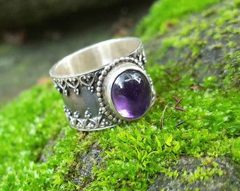 broad silver ring, decorated band, purple amethyst, 925 silver jewellery, handmade unique item, crown ring, cabuchon gemstone, gift for her.