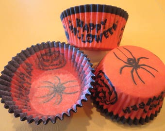 48 Halloween Spider Standard Size Cupcake Liners Baking Cups Greaseproof Wrappers