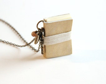 Miniature Book Necklace, Little Gold Book, Gold Locket, Small Journal, Book Lover, Handmade Book, Tiny Book Charm, Key, Small Book, Gold