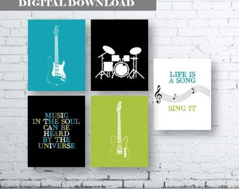 Music themed Art Print- Set of Five. Instant Download. Teenage Boy Art Print. Guitar Bedroom Prints. Boys Bedroom Decor. Rock n Roll Art.Set