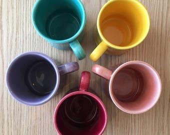 Mid century mug set multi color set of 5