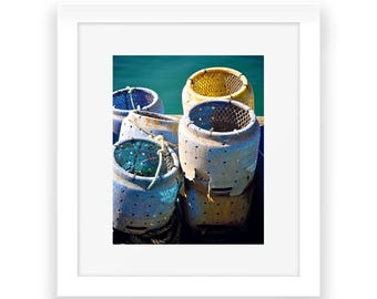 Still life photography, seaside art, colour print, teal, yellow, white, blue, original fine art print - Crab pots