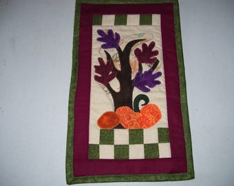Fall quilt-smaller quilt for apartment or cubicle-Secret Santa gift-pumpkin quilt-machine quilted and appliqued