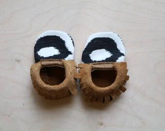 Ikat Neutral Leather Moccasin Booties