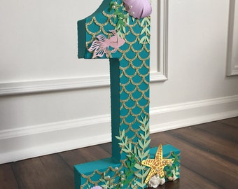 freestanding number photoshoot prop, paper mache letter, mermaid theme photo prop, birthday photoshoot prop, under the sea photoshoot prop