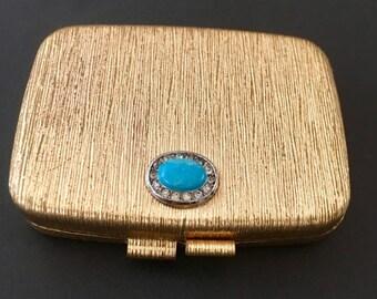 Vintage Revlon Love Pat Misty Rose Compact wit Mirrir and Vintage Powder Make Up. Gold Toned.