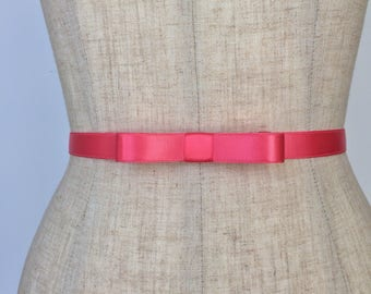 CORAL Skinny Bow Belt,Bridal Bow Belt,Bridesmaid Belt,Prom Bow Belt,Formal Bow Belt,Sorority Formal Belt.