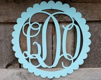 Painted Monogram in Scallop Border - Personalized Wall Hanging - Painted Wooden Letters - Nursery Wall Hanging - Personalized Gift