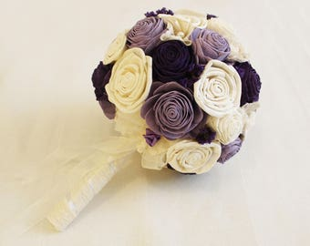 Bridal Bouquet or Bridesmaid bouquet , Wedding Cream/Purple, White Fabric Bouquet, Sola flowers