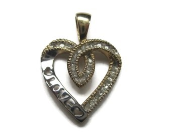 Vintage 10K Love Diamond Heart Pendant