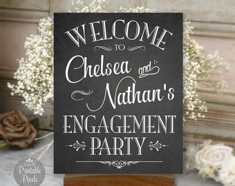 Engagement Party Sign Printable, Chalkboard Style, Welcome Sign, Personalized with Names (#ENG1C)