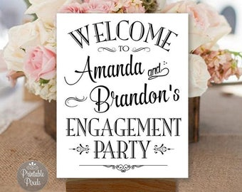 Engagement Party Sign Printable, Black and White, Welcome Sign, Personalized with Names (#ENG1B)