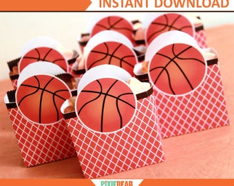 Basketball Birthday Favor Box - Basketball Party Favor Box - Basketball Decorations - Basketball Favor Box Template (Instant Download)