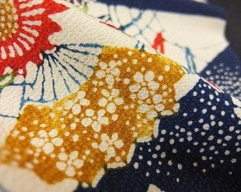 "14.1""w. x 31.7""l. vintage silk, Japanese, silk fabric, kimono fabric, bellflower, silk scraps, water stream, chrysanthemum 2928H"