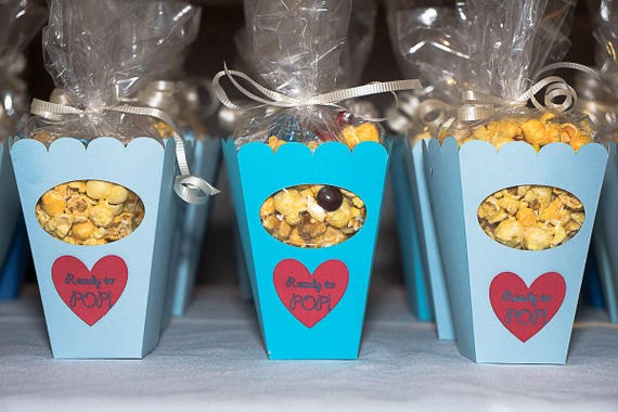 Popcorn Favor Box Birthday Favor Popcorn Boxes Popcorn Boxes Set Bridal Shower Favors Baby Shower He Popped the Question She's Ready to Pop