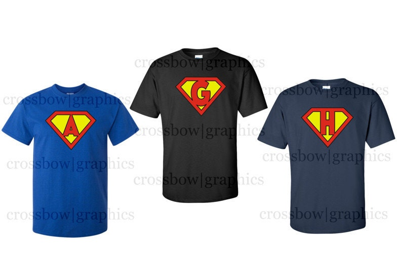 Custom youth superhero t shirt personalized superman classic for Make your own superman shirt