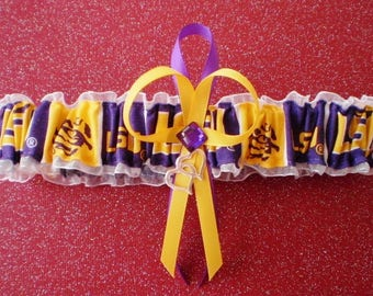 Louisiana State University Fabric Wedding Bridal Garter Toss White Prom Double Heart Charm