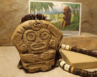 Aztec / Mayan necklace amulet - Cave goddess / Earth mother deity talisman.