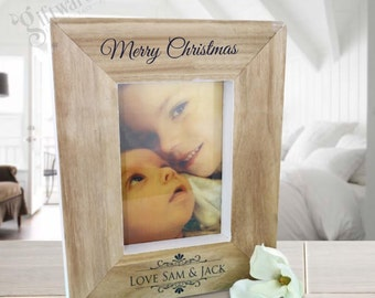 Personalised Wooden Christmas Xmas Photo Frame, Teacher, Mum, Grandma - FREE SHIPPING - Layout Options