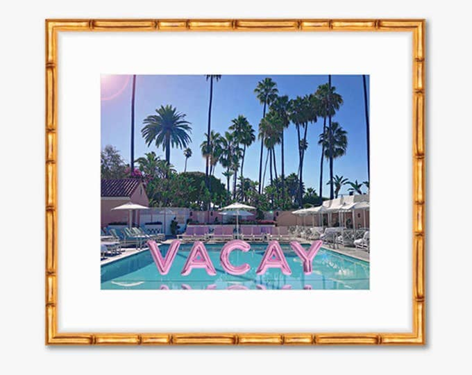 Featured listing image: Permanent Vacay -- Poolside Pink Foil Balloons -- Travel Photography -- Gallery Wall