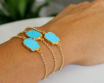 Petite Turquoise Slab Bracelet on 14K Gold Filled Rolo Chain. 14K Gold Filled Turquoise Bracelet. Dainty Gold Filled Turquoise Bracelet.