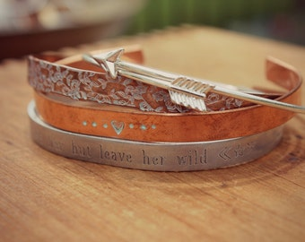 Inspirational | Love Her But Leave Her Wild, Southern Boho Quote Bracelet, Wild And Free, Layered Set of Cuff Bracelets