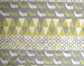 Fabric - Sevenberry - green bird print - cotton flax.