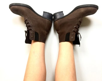 Vintage Brown Leather Boots // Women's Naot Designer Leather boots // Women's size 8.5 // Vintage leather ankle boots