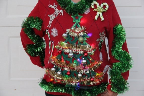 Christmas Xmas Tree LIGHT UP Hilarious Funny Mens Made to Order Any Size Tacky Ugly Christmas Party Sweater