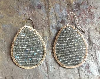 Silver hoop earrings with labradorite gemstones