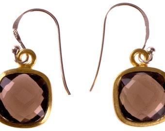 Silver square faceted smoky quartz 925 sterling silver gold plated Stone Brown (No. OSG-59)