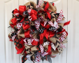 XL Valentien's Day Burlap Wreath . Valentine's Day Decoration.  Rustic Valentine's Day Decor. Burlap heart wreath
