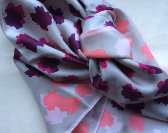 Vintage silk  headsquare , Lafayette, hand rolled hems, pink and grey