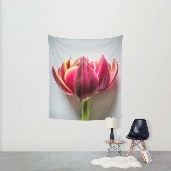 Pink Flower Tapestry Wall Hanging, Tulip Art Tapestry, Large Wall Art Prints, Photography Gifts, Fabric Wall Hanging Art, Macro Photography