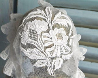Antique French Bonnet Hand Embroidered Double Frill Lace Trim Mid 1800's
