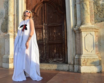 Extravagant White Long Kaftan TDK252, White Summer Dress, White Wedding Dress, Summer Asymmetrical Dress, White Royal Dress