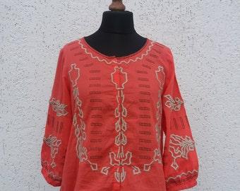 Vintage Orange Hippie Women's Shirt Size Medium/Large