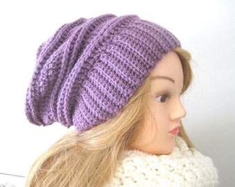 Slouchy Hat,  Purple Slouchy Beanie, Trendy Winter Hat, Purple Orchid Slouchy Hat, Crochet Hat , Womens Beanie, Fashion Accessories