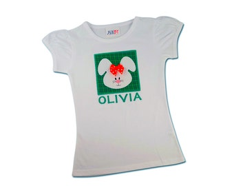 Girl's Easter Shirt with Bunny Box and Embroidered Name