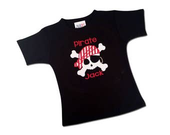 Pirate Birthday Shirt with Pirate Skull and Embroidered Name