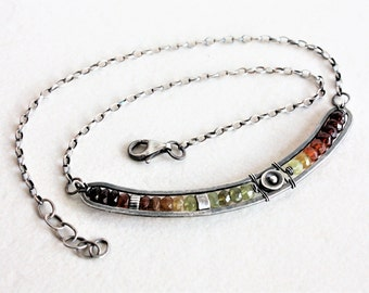 Garnet necklace, colorful necklace, sterling silver necklace, gemstone bar necklace, silver gemstone necklace, artisan jewelry