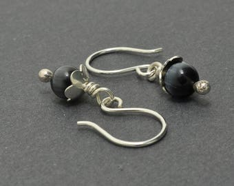 Cats eye Earrings, Sterling Silver dangle, Flower Earrings, Silver Dangle Earrings