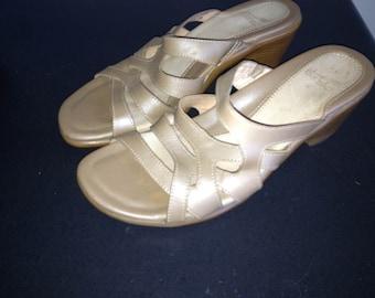 REDUCED! Dansko Beige Leather Monika  Slide sandals 41 10.5 11