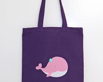 Bag tote bag pink whale - dark purple cotton