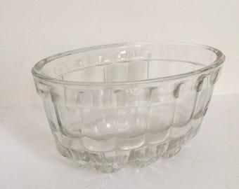 Decorative Vintage Glass Jelly Mould, Large Jelly Bowl