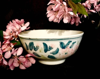 Chinese blue and white floral rice noodle soup bowl vintage porcelain