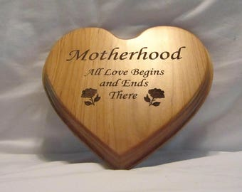Personalized Wooden Heart Plaque With Motherhood Design