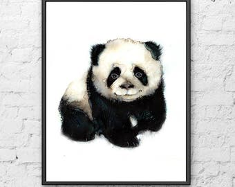 Baby nursery watercolor painting Panda print, panda art print, nursery panda painting, baby animal, baby nursery, wall art, kids decor - R47