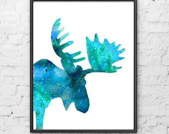 Blue watercolor moose print, nordic animal, ice blue, animal art, woodland animal, painting watercolor, kids room decor, moose  - H181