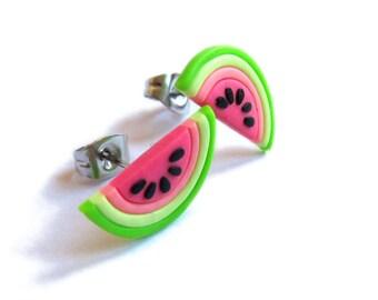 Pink Earrings, Watermelon Earrings, Watermelon Jewelry, Fruit Earrings, Fruit Jewelry, Polymer Clay Earrings Colorful Earrings Neon Earrings